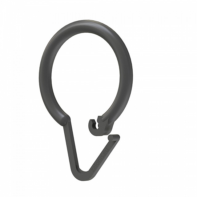 SHOWER CURTAIN RING PLASTIC GREY